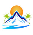beach and mountain silhouette icon vector image