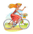 beautiful girl rides a bicycle and waving vector image vector image