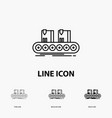 belt box conveyor factory line icon in thin vector image