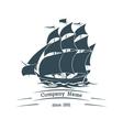 Big sail ship logo icon vector image