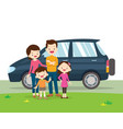 car and family portrait vector image vector image
