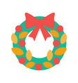 christmas wreath with bow and decorative elements vector image