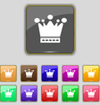Crown icon sign Set with eleven colored buttons vector image vector image