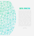 digital marketing concept with thin line icons vector image vector image