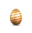 easter egg 3d icon gold red egg isolated white vector image vector image