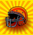 football helmet pop art style vector image vector image
