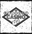 gambling sign emblem with text welcome to casino vector image vector image
