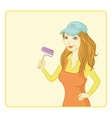 Girl painter with a paint roller vector image