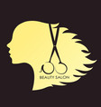 girl with curls of hair and scissors vector image vector image