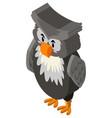 gray owl in 3d design vector image