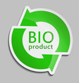 green sticker bio product vector image vector image