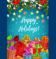 happy winter holidays xmas tree lights and gifts vector image