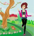 Jogging girl in spring vector image vector image