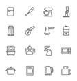 kitchen appliances thin line icons set isolated on vector image
