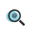 magnifying glass looking for a mail isolated web vector image vector image
