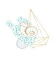 marine sea shell line art golden frame wreath vector image vector image