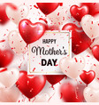 mothers day background with red hearts balloons vector image vector image