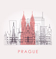 outline prague skyline with landmarks vector image vector image