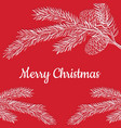 postcard merry christmas on a red background vector image vector image