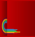 red background with rainbow vector image vector image