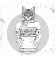 retro hipster animal cat dressed in pullover vector image vector image