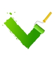 roller brush with green check vector image