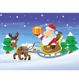santa and reindeer at christmas vector image