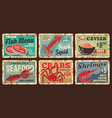 seafood shop fish squid and shrimp rusty plates vector image vector image