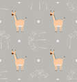 seamless pattern funny cartoon giraffe with palm vector image vector image