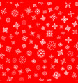 seamless pattern white snowflakes on a red vector image vector image