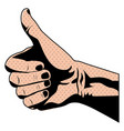 silhouette skin color of hand with signal thumb up vector image vector image