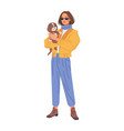 stylish girl in fashion cloth with dog pet isolate vector image vector image