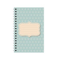 teal paper notebook with dotted pattern vector image vector image