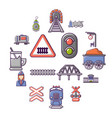 train railroad icons set cartoon style vector image vector image