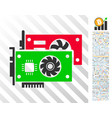 video graphic cards flat icon with bonus vector image vector image