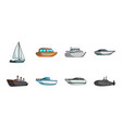water and sea transport icons in set collection vector image