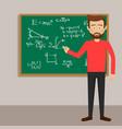 male teacher in classroom next to blackboard vector image