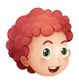 A face of a curly haired young man vector image vector image