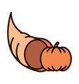 autumn cornucopia pumpkin harvest line fill icon vector image vector image