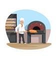 bakery and baker baking flat design vector image vector image
