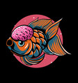 beautiful gold fish with pink vector image