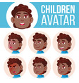 boy avatar set kid black afro american vector image vector image