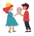 boy giving present to girl in princess costume vector image vector image