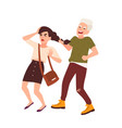 boy grabbing and pulling hair of girl and laughing vector image vector image