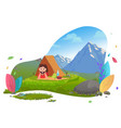 camping in mountains traveler in tent on picnic vector image vector image