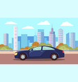 car on asphalted city road landscape town vector image vector image
