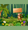 cartoon a monkey holding wooden sign in forest vector image vector image
