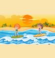 children surfing on waves scene vector image vector image
