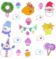 Christmas set object doodles vector image vector image