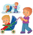 clip art older brother wheeled vector image vector image